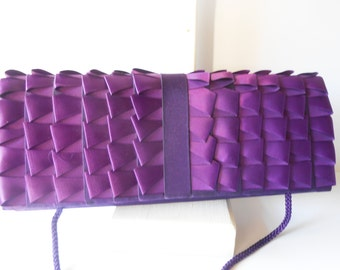 Purple Evening Bag, Vintage Purple Purse, Clutch Handbag, Purple Clutch, Jewel Tone, Glamorous Purple Bag, Special Occasion EB-0650