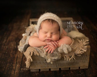 Newborn baby bonnet - newborn photography prop sitter prop boy unisex - alpaca neutral beige ivory stripe - fuzzy brushed luxury bonnet