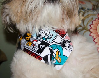 "Dog Bandana - Comic Book Print - Washable Cotton - Size Small- Snaps Together  - Reversable Dog Scarf - Puppy Bandana  17"" by 8 """