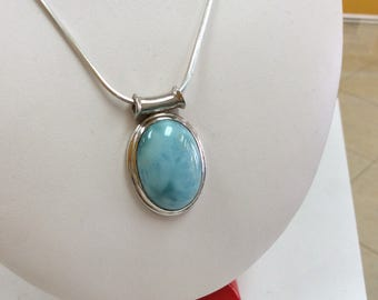 Italy  925  Sterling Silver Necklace With Baby  Blue Gemstone