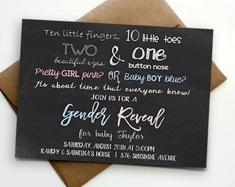 10 Little Fingers 10 Little Toes Boy or Girl Gender Reveal Party Invitation - Printable