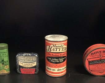 6 Antique Tins-  Collection