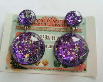 ON SALE Cosmic dangle earring : purple and silver confetti lucite (Clip ons only)