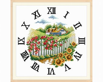 Clock face cross stitch pattern in PDF file - House in the garden for instant download 009