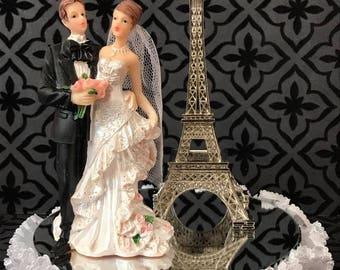 Paris Wedding Bride and Groom Figurine Eiffel Tower Cake Topper