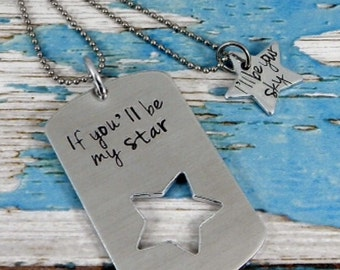 Aluminium hand stamped dog tag necklace and star shape necklace. If you'll be my star. I'll be your sky.
