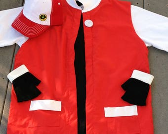 3 pc Men's XL  Pokemon Trainer RED Cosplay - Costume - Jacket Gloves  Hat - Anime Ash Ketchum