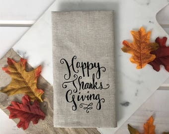 Happy Thanksgiving Linen Napkins Fall decor Thanksgiving dining Neutral linen napkin brown white beige napkin fall decor hostess gift