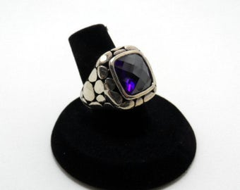 vintage purple stone ring - size 6, sterling silver