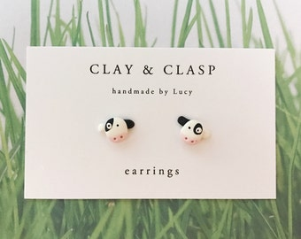 Cow Earrings - beautiful handmade polymer clay jewellery by Clay & Clasp