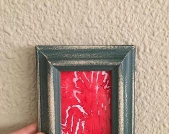 Linocut Print, Red Leaf, handmade
