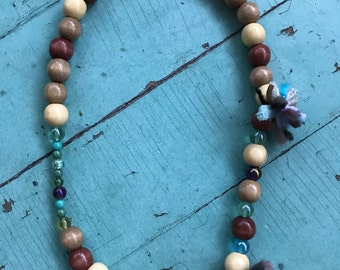 Wood Bead Necklace - Green Accents