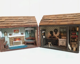 Primitive Rustic Miniature Cabin Dollhouse