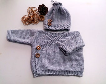 Baby sweater set, baby kimono, newborn boy coming home outfit, newborn set, woodland Nursery, infant kimono, hospital outfit, newborn gift