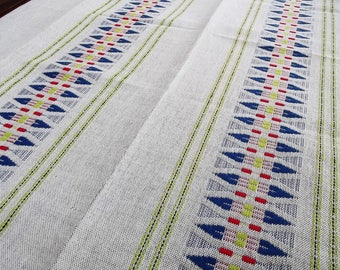Woven Tablecloth. Linen tablecloth.Handmade tablecloth. Swedish tablecloth. Table decor.Swedish Vintage 1970s.
