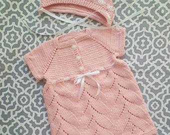 Dress tunic bonnet hat set for baby girl, knitted baby, easter dress, handmade Free shipping