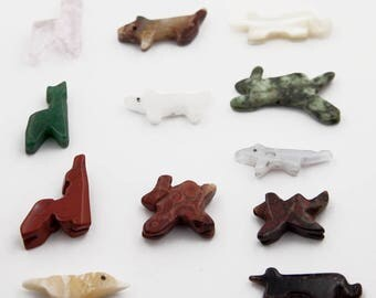 Animal Fetish Beads 18-30mm, Wolf, Fox, Antelope, Dog Vintage