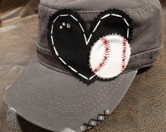 I heart baseball cadet cap
