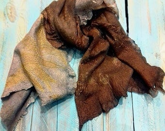 Felted scarf, Grey Scarf, Hand embroidery, Hand stitch, Felt Gray-brown, Silk scarf, Wool scarf, Rustic style, Folio, Leaf, OOAK scarf