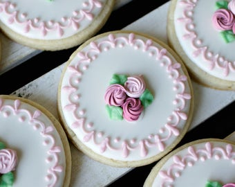Roses and Lace Sugar Cookies - 1 Dozen 2.5 inch Round Sugar Cookies , Tea Cookies, Wedding Cookies, Custom Sugar Cookies, Flower Cookies
