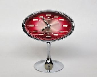 Original Rhythm Alarm Clock / Tulip Pedestal Desk Clock / No 51141 / 70s Japan / 2 Jewels / Atomic Era / Red