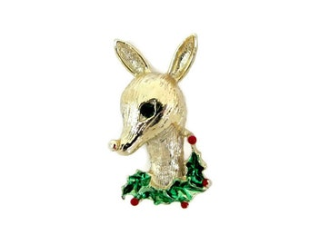Vintage Christmas Brooch, 1960s Gerry's Reindeer Brooch, Pin Reindeer with Holly, Retro Christmas Reindeer Pin, Book Piece, 1960's Christmas