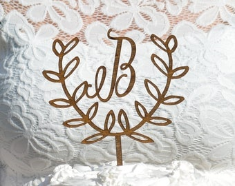 Rustic Cake Topper, Initial Cake Topper, Wooden Cake Topper,  Laurel Wreath Wedding Decor, Custom Cake Decor, Country Wedding Reception