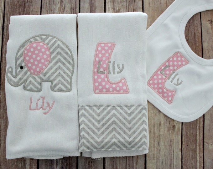 Monogrammed Baby Girl Pink Grey Elephant Burp Cloth Set, Personalized Girl Gift Set, Personalized Baby Gift, Custom Embroidered Burp, Baby