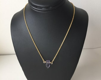 Rainbow Fluorite spike choker necklace - modern minimal - simple - everyday - delicate jewelry