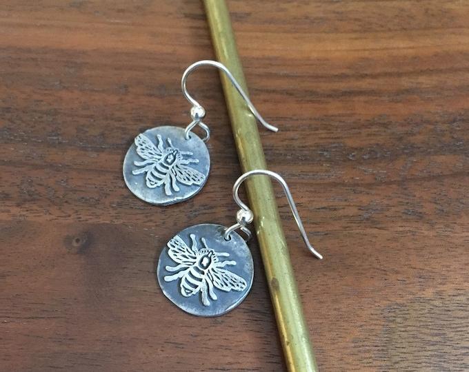 Bee - Honeybee Fine Silver Dangly Earrings - wild grace jewelry -