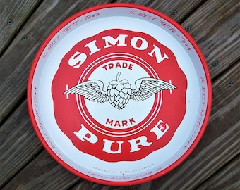Vintage Simon Pure Beer and Ale Buffalo NY Metal Serving Tray