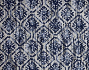 "Blue Ikat Curtains,Navy,Grey Curtains,Navy Curtains, Custom Curtains,Pair Drapery Panels, Blue and Grey Curtains,24"" Wide,52"" Wide"