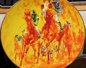 """LeRoy Neiman Bone China """"Winning Colors"""" Collectors Plate 1988 Kentucky Derby Horse Limited Edition"""