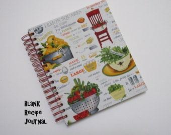 Blank Recipe Journal - Recipe Cards - Fabric - Spiral Bound