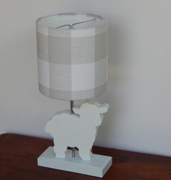 small grey white plaid drum lamp shade. Black Bedroom Furniture Sets. Home Design Ideas