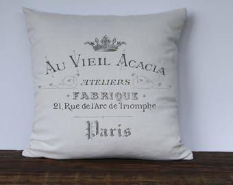 Farmhouse Pillow Cover, French Vintage Pillow Cover, Arc de Triomphe, Paris Pillow, Decorative Couch Pillow Cover, Custom Pillow Cover