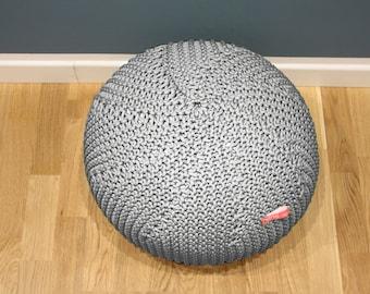Light Grey Pouf | Knit Pouf | Outdoor floor cushion | Outdoor Pouf Ottoman | Footstool | Floor Pouf | Pouffe | Bean Bag | Meditation cushion