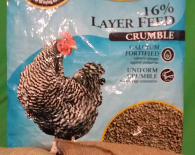 Recycled Feed Bag Tote, DumorChicken Layer Feed Crumble