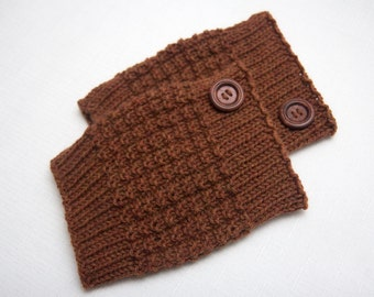 reddish brown wool boot toppers, boot cuffs, from 100 % unbleached natural wool, ready to ship