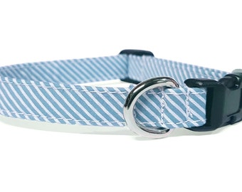 Gray blue striped dog collar & cat collar - adjustable with bell (optional)