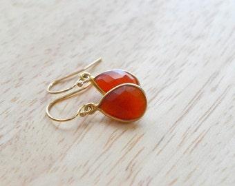 GEMSTONE DROP EARRINGS- Carnelian Earrings- Teardrop Gemstone Earrings in Gold or Silver- January Birthstone Earrings