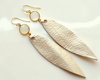 LIGHT CHAMPAIGN Leather Leaf Earrings with White Chalcodony Embellishment- Champaign Leather Earrings- Statement Earrings