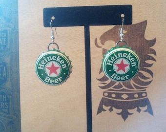 Recycled Heineken Beer Bottle Upcycled Bottlecap Earrings