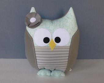 Owl Pillow - Gray & Light Aqua