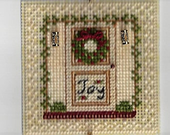 Yuletide Door Christmas Ornament - Counted Cross Stitch Chart - PDF Instant Download