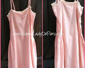 1930's Pink Salmon Slip Lace Trim French Handmade Cotton Lingerie Medium Size #sophieladydeparis