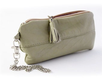 Pistachio Green Leather Zippered Purse