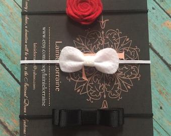 Gift set, red/white/black, Baby Headband, Infant headband