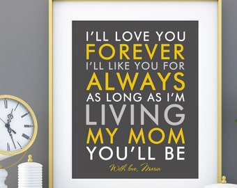 Birthday Gift for mom from children, kids, Personalized Mother's Day Verse Quote Gift , Gift for mum Print Art- choose fonts, colors 8 x 10