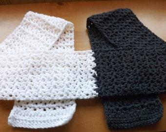 Scarf Crochet Scarf  two tone scarf V stitch scarf grey white crochet scarf gray scarf